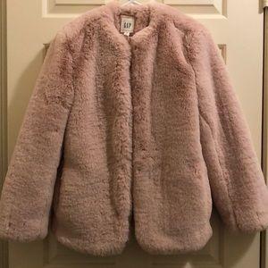 NEW Gap Pink Faux Fur Coat